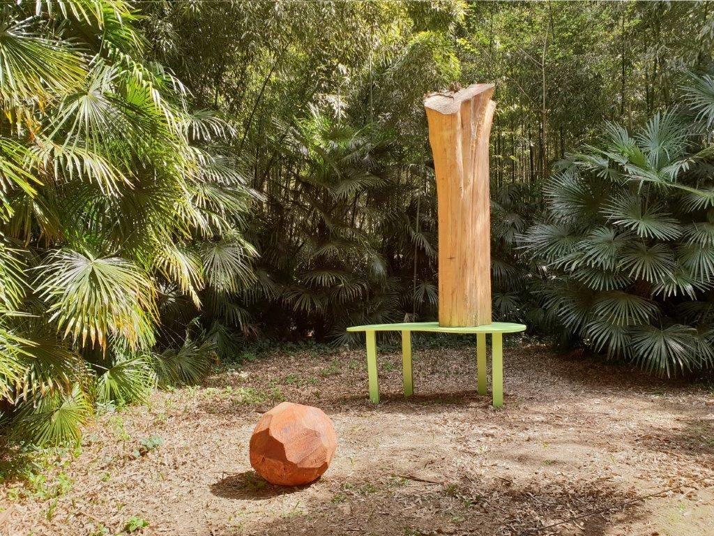 Roland Cognet à la Bambouseraie en Cévennes, Générargues ; Paysage et séquoia, création IN SITU 2019. Courtoisie galerie Gastaud/Roland Cognet ; photo © Roland Cognet