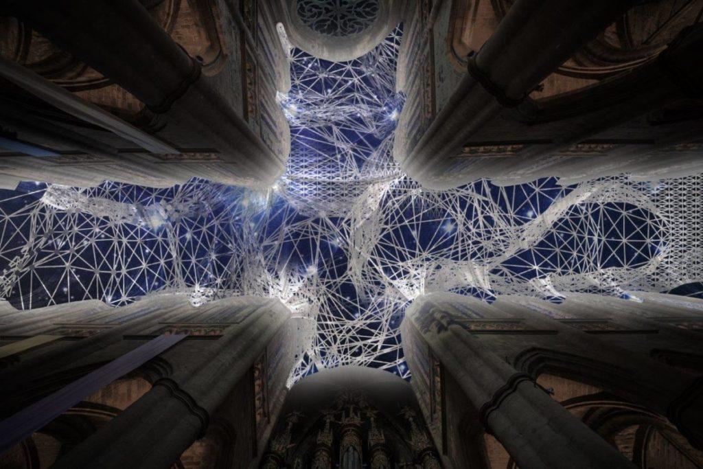 Miguel Chevalier à la cathédrale de Notre-Dame, Rodez ; Digital Supernova, création IN SITU 2019. Logiciel : Cyrille Henry ; courtoisie de l'artiste ; photo © Miguel Chevalier